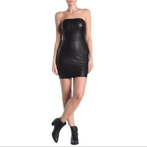 Free People Strapless Leather Black Mini Dress